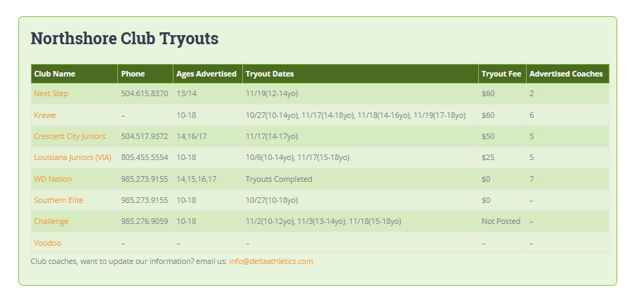 2019 Volleyball Club Tryouts
